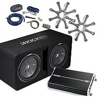 Kicker Bass Package - 43DCWR122 Dual 12 CompR Loaded Enclosure, Grilles, DXA 1500 Watt Amplifier, 4-AWG Wiring Kit