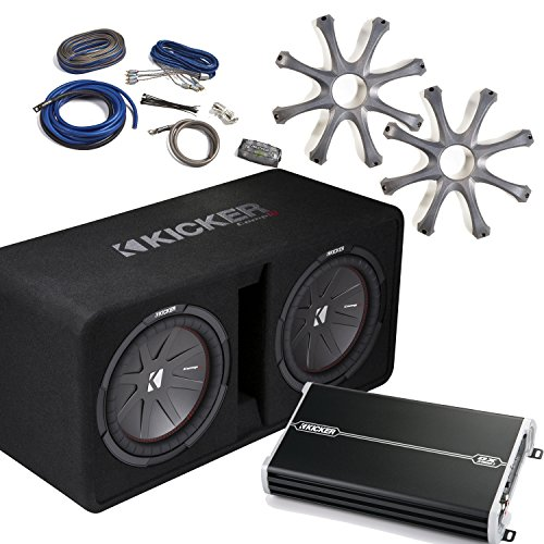 """Kicker Bass Package - 43DCWR122 Dual 12"""" CompR Loaded Enc..."""