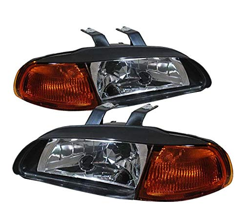 For 92-95 Honda Civic 2/3 Door 1 Piece Black Housing Pair Headlights Headlamps Amber Reflector