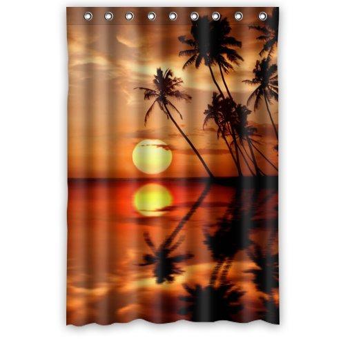 Free Shipping Supreme Store Custom Sea Sunset Palm Tree Waterproof Polyester Shower Curtain 48