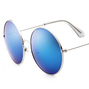SUNGLASSES LVZAIXI Klassische Lennon runde polarisierte Schutz-Sonnenbrille mit Weinlese-Kreis-Metallrahmen-Frühlings-Scharnier (Farbe : Blau) r00wwxW