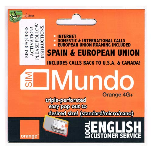 7GB + 400 min. dom. & International Calls! 1st USE Must BE in Spain Then You can go Anywhere in The European Union. Bundle Valid 30 Days. NO European CC Needed to top up. English Cust. Service. ()