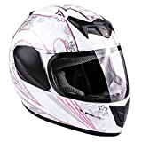 Typhoon Youth Full Face Motorcycle Helmet Kids DOT Street - White Pink Butterfly (Small)