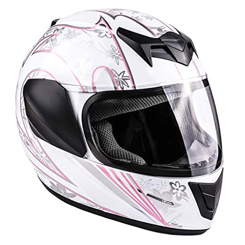 Typhoon Youth Full Face Motorcycle Helmet Kids DOT Street - White Pink Butterfly (XL)
