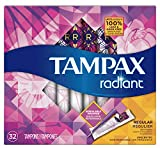 Tampax Radiant Regular Plastic Tampons, Unscented, 32 Count, Packaging May Vary