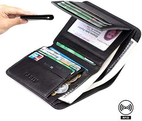 Pabin Mens Wallet Slim RFID Blocking Bifold Wallet for Men Trifold Leather Credit Card Holder