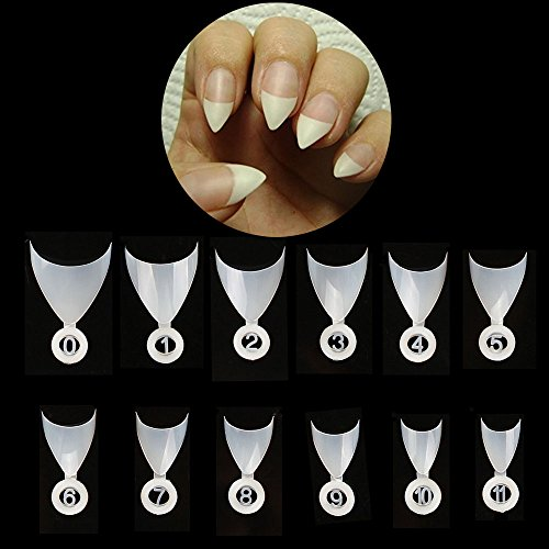 Glinla Stiletto Nails French Nail Tips 600Pcs Short Natural Fake Nails For Girls/Women