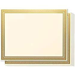 Award Certificates - 50 Blank Plain Ivory Paper Sheets - Ivory with Gold Foil Metallic Border Computer Paper - Laser & Inkjet Printer Compatible - 11 x 8.5 Inches