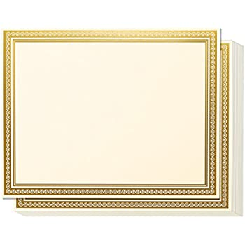 award certificates 50 blank plain ivory paper sheets ivory with gold foil metallic border