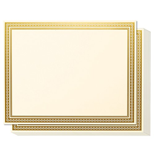 - Award Certificates - 50 Blank Plain Paper Sheets - with Gold Foiled Metallic Border Computer Paper - Laser & Inkjet Printer Compatible - 11 x 8.5 Inches