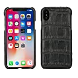 Crocodile Cover for iPhone X (5,8)'' Black Luxury Trop Saint Case Hand Made from Genuine Crocodile Skin - Flat
