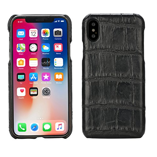 Crocodile Cover for iPhone X (5,8)'' Black Luxury Trop Saint Case Hand Made from Genuine Crocodile Skin - Flat by trop saint