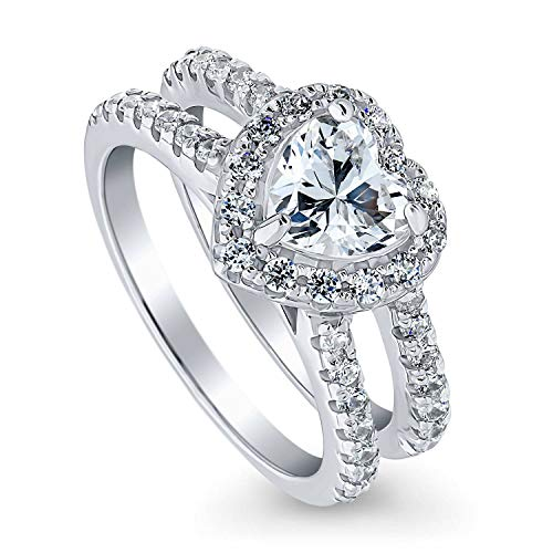 BERRICLE Rhodium Plated Sterling Silver Heart Shaped Cubic Zirconia CZ Halo Engagement Ring 1.89 CTW Size 10 (Heart Shaped Engagement Rings)