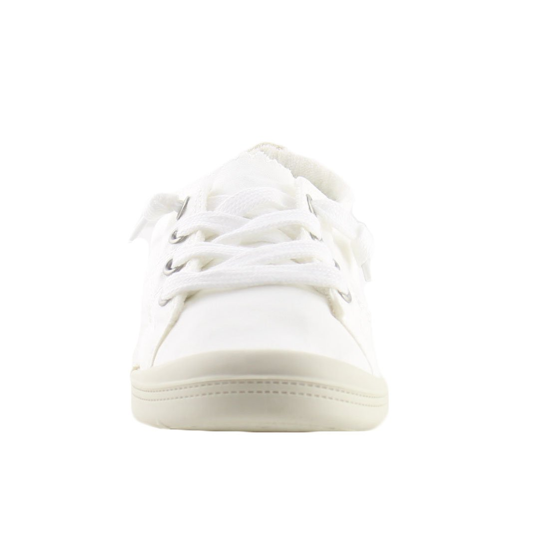 Forever FQ76 Women's Lace up White Sole Casual Street Sneakers B07BF9NS3T 8 B(M) US|White