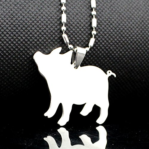 Stainless Steel Pet Pig Piglet Tag Breed Collar Charm Pendant Necklace