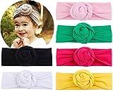 Baby Top Hat Cotton Head Wrap Elastic Headbands Turban Knot Hairband Headwear Set Of 6 (set of 6)