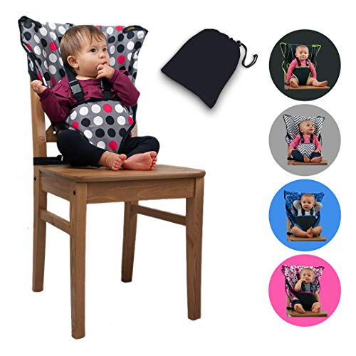 The Original Easy Seat Portable High Chair (Polka Dot) - Quick, Easy, Convenient Cloth Travel High Chair Fits in Your Hand Bag for a Happier, Safer Infant/Toddler (Space Saver High Chair Cover)
