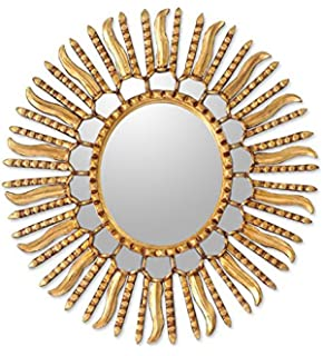 novica gold sunburst bronze leaf wood framed decorative wall mounted mirror metallic u0027winter sun