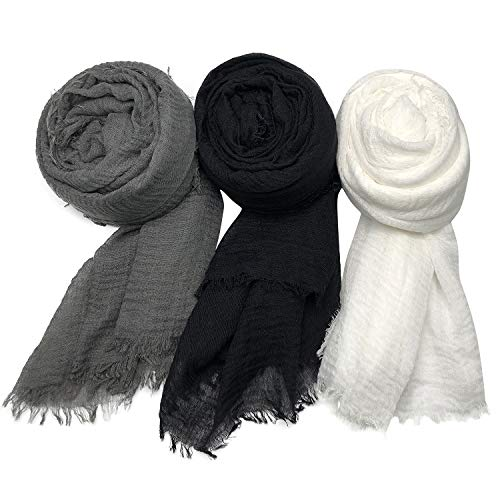 MANSHU 3PCS Women Soft Cotton Hemp Scarf Shawl Long Scarves, Scarf and Wrap, Fancy Stylish Hijab, Big Head Scarves