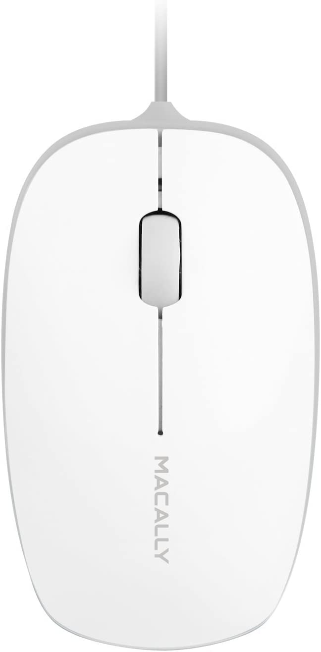 Macally 3 Button USB 800Dpi Optical Computer Wired Mouse with 4 Foot Cord for Apple Mac Mini iMac, MacBook Pro/Air, and Windows PC Laptop, Etc