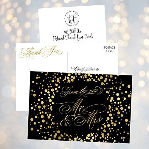 50 4x6 Black & Gold Modern Thank You Postcards Bulk, Cute Blank Thank You Cards From The New Mr. and Mrs. Thanks Note Card Stationery Set For Wedding Gifts, Bridesmaid, Bridal Shower, Engagement Party Photo #4