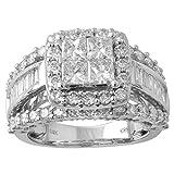 14k White Gold Princess Baguette Diamond Bridal Wedding Ring Set (3cttw, H-I Color, I1 Clarity), Size 7