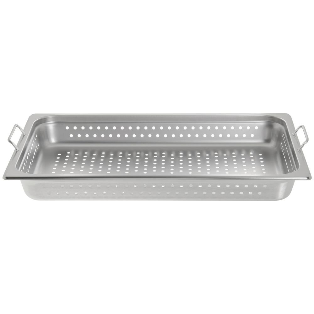 HUBERT Full Size Perforated Steam Table Pan with Handles 22 Gauge Stainless Steel - 2 1/2 D
