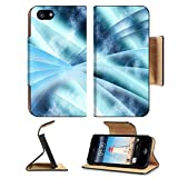 Luxlady Premium Apple iPhone 5 iphone 5S Flip Pu Leather Wallet Case IMAGE 19863052 Digital abstract shapes glowing in blue tones