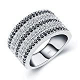 ANGG Black And White Cubic Zirconia Simulated Diamond Vintage 925 Sterling Silver Ring Size 6 Reviews
