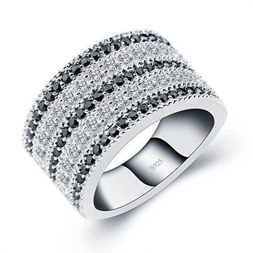 A ANGG Black And White Cubic Zirconia Simulated Diamond Vintage 925 Sterling Silver Ring ()