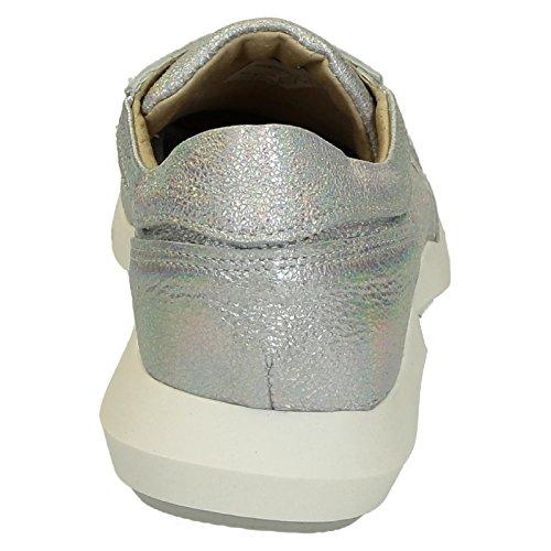 ER01SILVER Shoes Leonardo Mujer Plata Zapatillas Cuero q0zWA