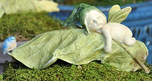 Fiddlehead Fairy Village – Leaf Fairy Baby w/Blue Bird