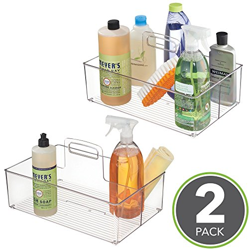 mDesign Kitchen Pantry Cabinet, Under Sink Storage Caddy Bin with Handle – BPA Free - 2 Section Tote for Organizing Dish Soap, Sponges, Dish Towels, Cleaning Supplies – Pack of (Tot Sink)