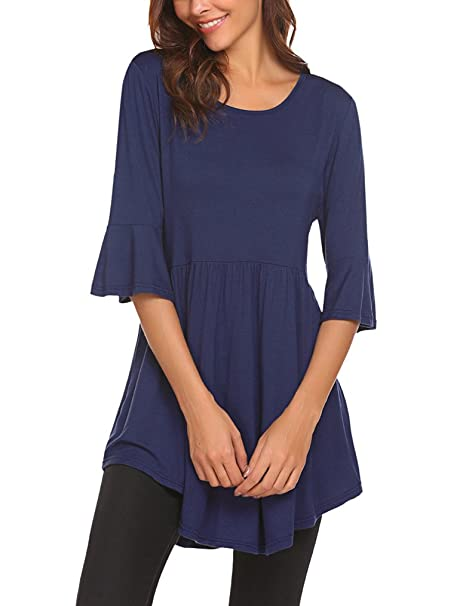 9bf7f31cb20 Naggoo Womens Casual 3 4 Ruffle Sleeve Blouse Striped Pleated Tunic Tops   Amazon.ca  Clothing   Accessories