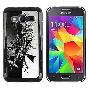 // PHONE CASE GIFT // Duro Estuche protector PC Cáscara Plástico Carcasa Funda Hard Protective Case for Samsung Galaxy Core Prime / Negro abstracto en blanco y /