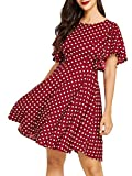 Romwe Women's Stretchy A Line Swing Flared Skater Cocktail Party Dress Polka Dot-2 L