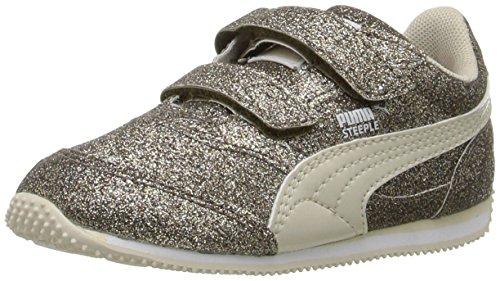 PUMA Steeple Glitz Glam V Kids Sneaker (Toddler/Little Kid/Big Kid), Silver Gold/Birch, 8 M US Toddler (Glitz Glitter)