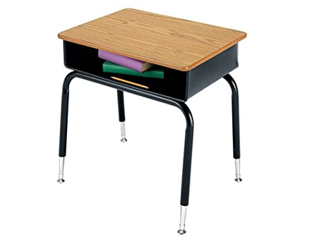 Virco Set Of 2 Student Desk Open Front Metal 24 W Medium Oak