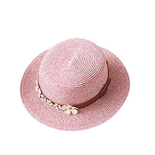 Womens Hats Caps – Garrelett Braided Straw Hat Roll-up Brim Caps Daisy Belt Decoration Hats Leisure Jazz Cap Summer Sun Beach Hat Pink