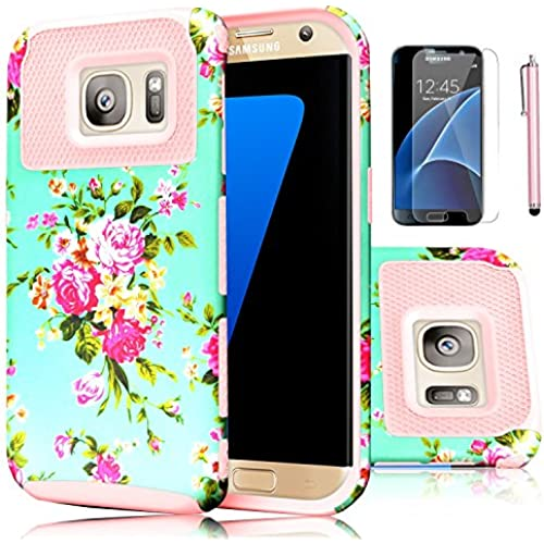 Galaxy S7 Case,EC 2-Piece Extra Slim Hybrid Dual Layer Hard Cover Case for Samsung Galaxy S7 2016 Release (Flower-Rose Gold) Sales