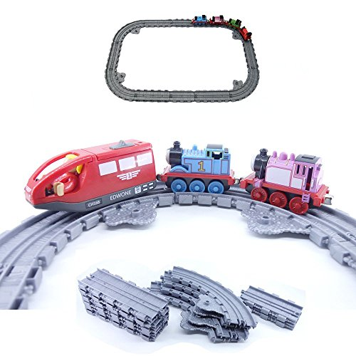 Take-n-play Toy Train Tracks, 12 Pieces Straight And Curved Track Pack,Plastic,Gray (Train Plastic Track)