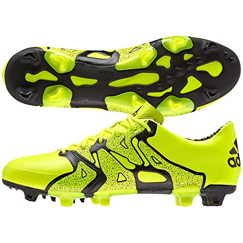 adidas X 15.1 FG/AG (Leather) Soccer Cleats (Solar Yellow/Black/Frozen Yellow) (9.5)