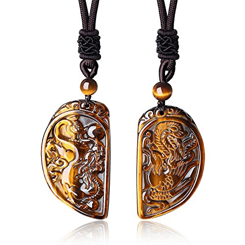 COAI 2 Sets Genuine Tiger Eye Dragon and Phoenix Couple Necklaces Stones Pendant - Eye Pendant Set