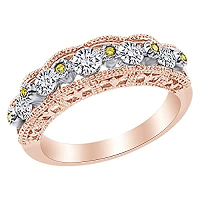 Nice Yellow & White Natural Diamond Anniversary Band Ring in 14k Solid Gold (0.75 Cttw) for sale
