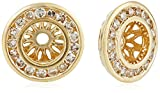 14k Yellow Gold Diamond Channel Halo Earrings Jackets (1/6 cttw, J-K Color, I2-I3 Clarity)