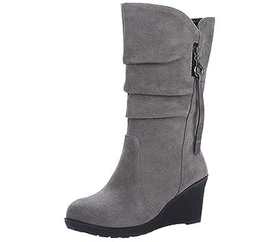 1837157d433 Amazon.com | Esharing Winter Wedges Knee High Boots Mid Calf Dress ...