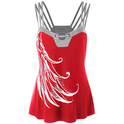 WEUIE Clearance Sale Women Plus Size Strappy Tank Tops Chains Embellished Blouse Sleeveless Shirt (2XL,Red)
