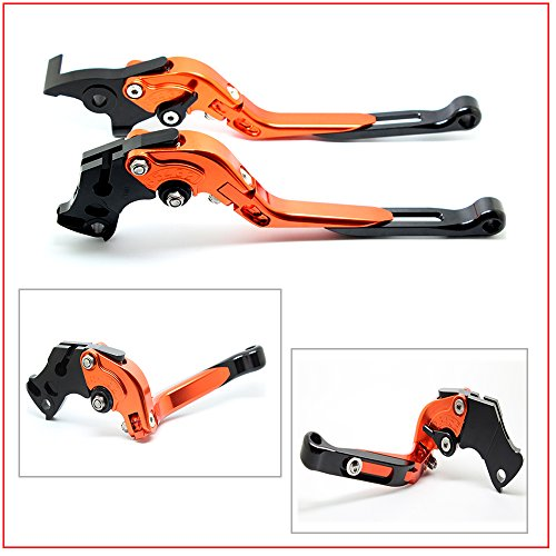 FXCNC Racing Adjustable Motorcycle CNC Folding levers and Extendable Brake Levers Pair Fit For KTM 390 Duke/RC390 2013-2016 200 Duke/RC200 2014-2015 (Orange)