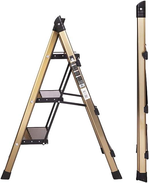 Escalera Pequeña Dorada Plegable para El Hogar, Escalera Portátil de Aleación de Aluminio con Pedal Ensanchado para Interior/Escaleras/Cocina (Size : 3STEPS): Amazon.es: Hogar