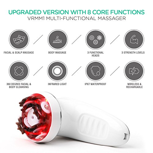 VOYOR-Face-Massager-Handheld-Facial-Massager-Silicone-Face-Brush-3-In-1-Electric-Micro-Firming-Massager-for-Hand-Arm-Neck-and-Leg-Cordless-IPX7-Waterproof-VRMM1